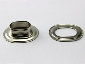 20 X Ovale Oeillets 17 11 Mm Laiton Nickel Inoxydable Pour Bâche