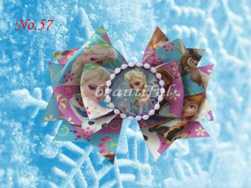 "12 BLESSING Good Girl Boutique 4.5/"" J Snowflake Hair Bow Clip FROZEN 87 No."