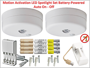 Motion Activation LED Spotlight Battery-Powered and Auto Shut Off -Optional Sets