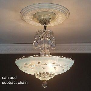 222-Vintage-arT-DEco-Ceiling-Glass-Light-Lamp-Fixture-Chandelier-blue-3-light