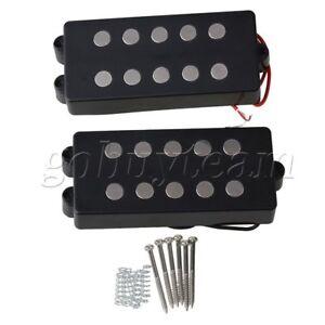 2x metal bass guitar pickup 5 string black terminals humbucker for m style bass ebay. Black Bedroom Furniture Sets. Home Design Ideas