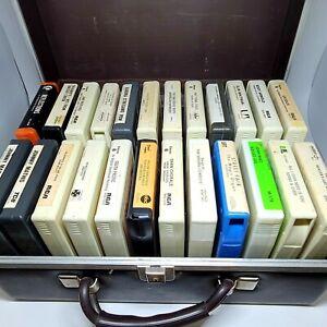 Lot of 24 Vintage 8-track Cassettes With Hard Case, Polka, Glenn Miller etc...
