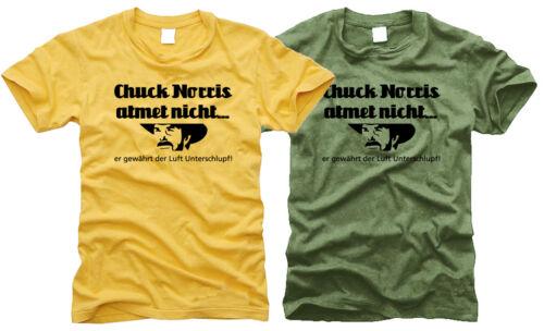 S bis XXL Gr - Herren-T-Shirt er gewährt der Luft.. Chuck Norris atmet nicht