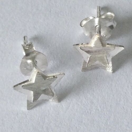 925 Sterling Silver star shaped brushed finish stud earrings