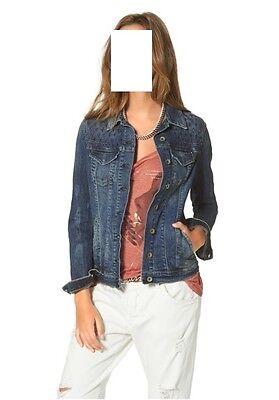 Guess Jeansjacke , Gr.  M, L, Stickereien und Perforationen vorn und hinten