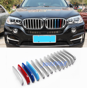 14PCS Chrome Front Center Grille Grill Cover Trim For BMW X5 F15 X6 F16 2015-19