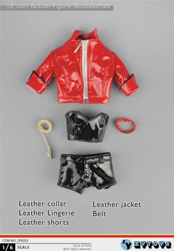 """1//6 Leather Jacket Shorts Set For 12/"""" PHICEN Hot Toys KUMIK Female Figure ❶USA❶"""