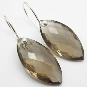 BROWN-SMOKY-QUARTZ-Gemstone-925-Solid-Silver-Marquise-Hook-Earrings-Jewelry