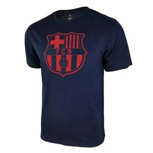 FC BARCELONA NAVY ADULT CREST PREMIUM POLY/COTTON T-SHIRT OFFICIALLY LICENSED