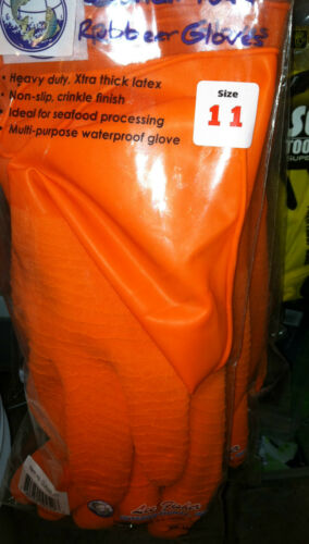 DOZEN LATEX  FISHING GLOVES GREAT FOR SHRIMPERS =12 PAIR PICK SIZE--JOY FISH