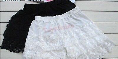 Korean Womens Fashion Sweet Cute Leggings Tiered Lace Shorts Skorts Short Pants