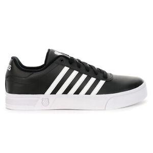 K-Swiss Men's Court Lite Stripes Black/White Classic Shoes K06149.002 NEW