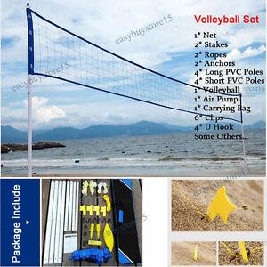 Pro-Beach-Volleyball-Net-System-Portable-Set-Adjustable-Posts-Ball-Hand-Pump-New