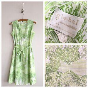 True-Vintage-1960s-Global-Mid-Century-Print-Belted-Tie-Waist-Shift-Dress-UK10