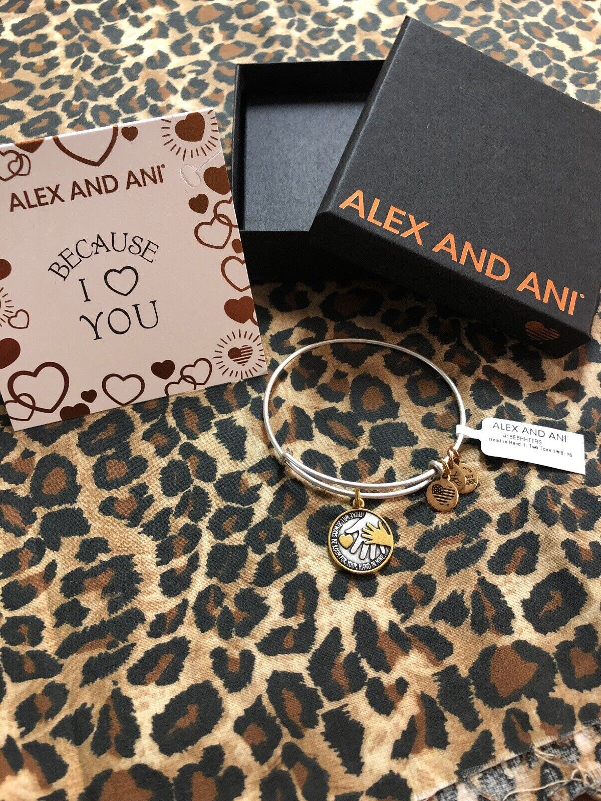 NWT ALEX AND ANI BRACELET  HAND IN HAND II   Two Tone CARD & BOX after S&H