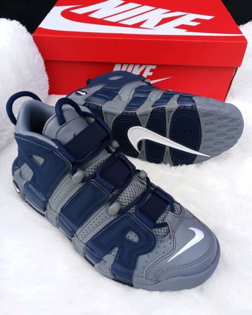 7 Men s Nike Air More Uptempo 96 Cool Grey White Midnight Navy blue 921948  003 9e6b1cc8f46c
