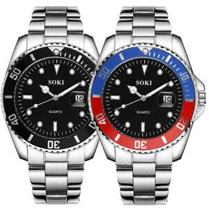 Fashion-Men-039-s-Luxury-Date-Crystal-Dial-Stainless-Steel-Analog-Quartz-Wrist-Watch
