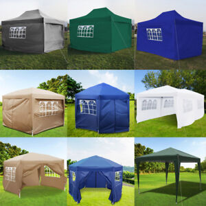 Details about 2M 2 5M 3M 3 5M 4 5M 6M PE Gazebo Waterproof Garden Marquee  Canopy Tent + Sides
