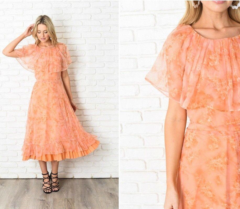 Vintage 70s Cape Sleeve Dress Maxi Boho Floral Print Hippie XS