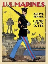 1914 Join Me US Marines Vintage Style WWI Recruiting Poster 20x36