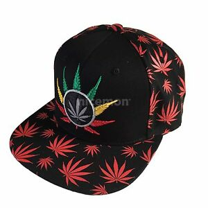 3cb3014ef02 Weed LEAF Cap Hat Flat Visor Snap Back Hip Hop Hiphop Cannabis LEAF ...