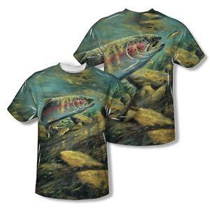 c62d46f800cd Wildlife Rainbow Trout Fish Near 2-Side Sublimation Print Poly Shirt ...