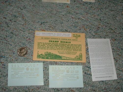 Champ decals HO PH-9 Baltimore Ohio bronze gold passenger Capital National G31