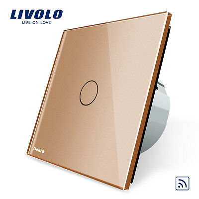 Livolo New EU Type AC 110-250V 1 Gang 1 Way Gold Wall Light Remote Touch Switch