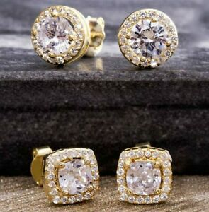 4-55Ct-Cushion-Brilliant-Cut-Crystal-Halo-Stud-Earrings-14K-Gold-Plated