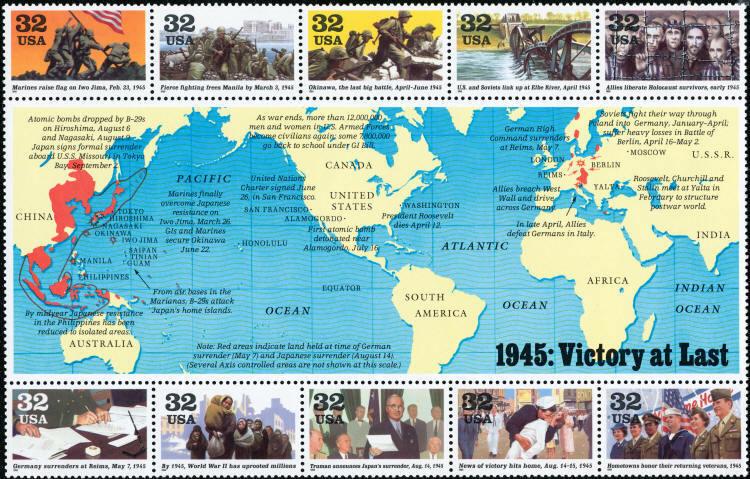 1995 32c World War II Victory at Last Souvenir Sheet of