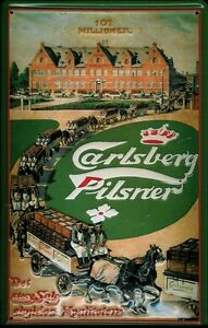 CARLSBERG-DRAY-Vintage-Metal-Pub-Sign-3D-Embossed-Steel-Home-Bar