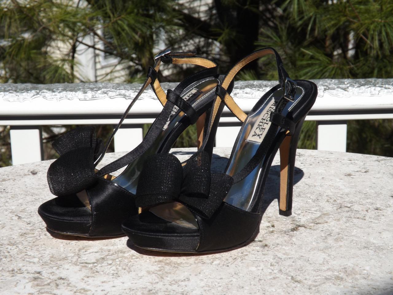 Badgley Mischka Negro Negro Negro satinado Slingback arco Plataforma Tacones 6 M  precio mas barato