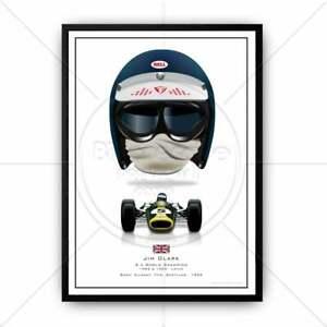 Jim Clark Formula 1 Helmet and car from 1965 - F1 Grand Prix Wall Art Poster Ill