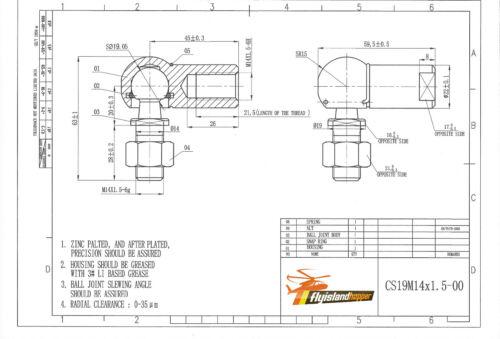 Winkelgelenk mit Dichtung CS LH DIN 71802 M14 x 1,5 links 1 x Kugelgelenk