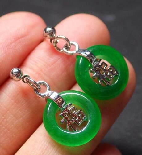 Gold Plate Green JADE Earring Earrings Fu Lucky Circle Diamond Imitation 320122