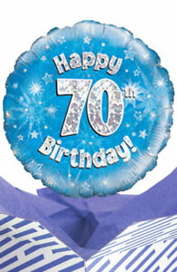 Image Is Loading 70th Birthday Blue Balloon In A Box Gift
