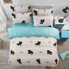 Single Queen King Bed Set Pillowcase Quilt Duvet Cover Cotton Blend tAUL Cat