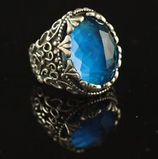 Turkish Handmade Ottoman 925K Sterling Silver Sapphire Men's Ring Size 9,10,11
