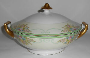 Meito China Porcelain Japan Floral Gold Green Yellow Covered Vegetable Bowl