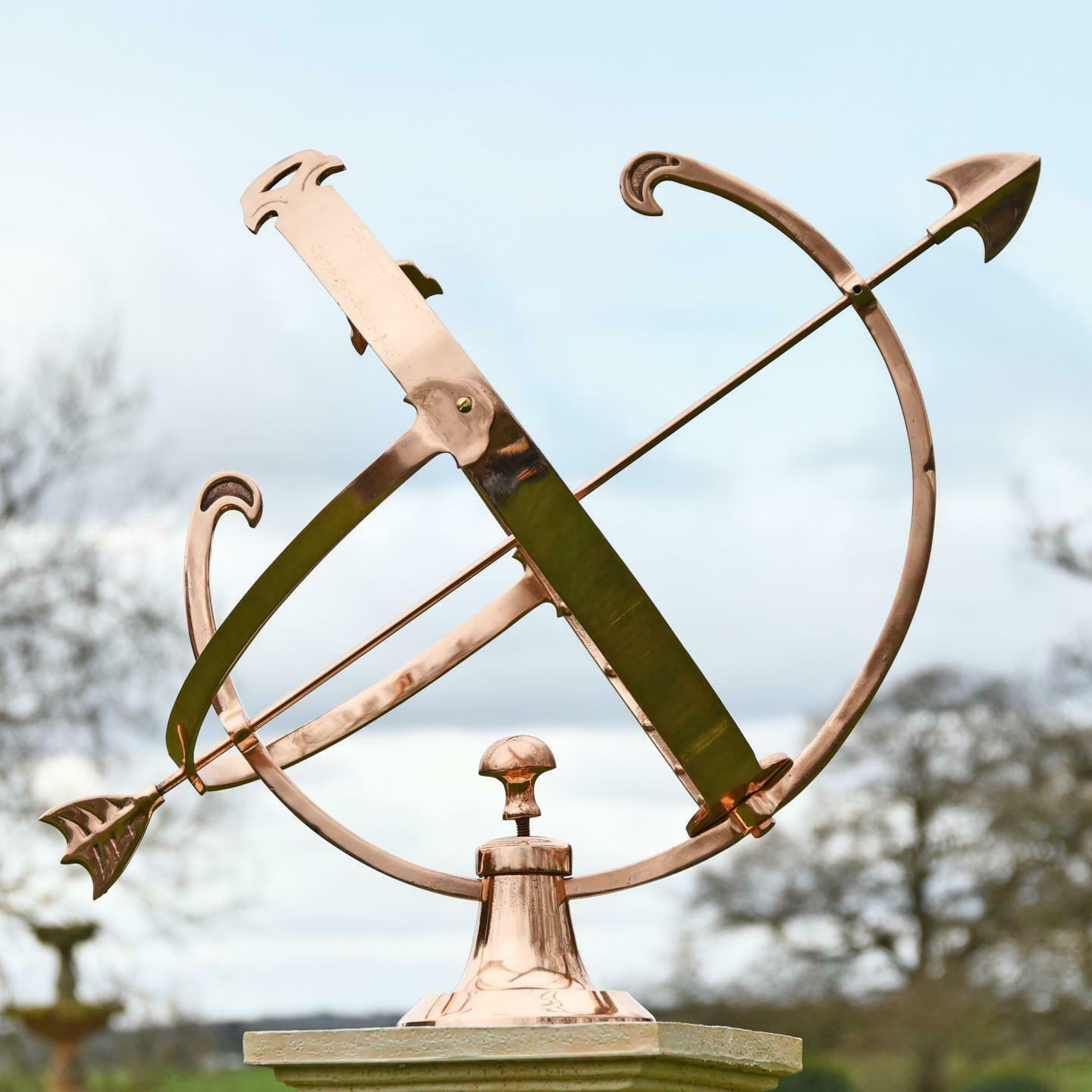 Large Polished Solid Copper Armillary
