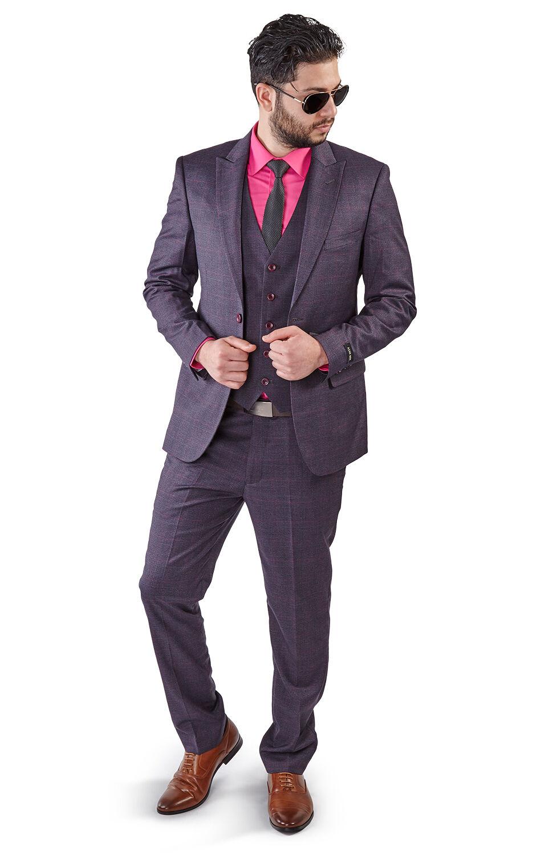 Slim Fit 2 Button Vest Optional Peak lapel Windowpane Plaid Suit Azar lila1698