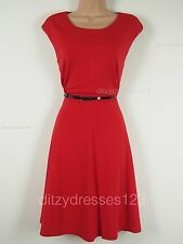 BNWT South Red Fit and Flare Ponte Dress Size 16 Petite Stretch RRP £32