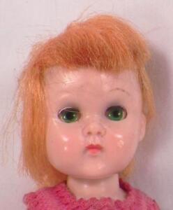 Vogue-Ginny-Doll-Wee-Imp-Hard-Plastic-Bend-Knee-Walker-Orange-Hair-Green-Eyes
