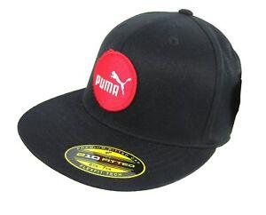 316643e32 Puma Premium Fitted Cap Hat Flexfit Tech Black 6 7/8-7 1/4 or 7 1/4 ...