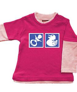 Babybugz-Skate-Layered-Top-Shirt-Baumwolle-Pullover-NEU-rosa-Nuckel-3-6-12-18Mo