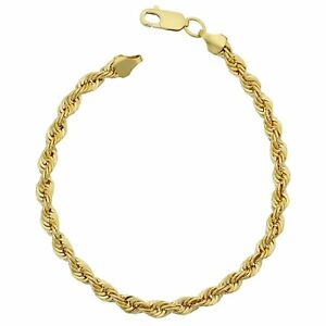 14K-Yellow-Gold-Filled-Solid-Rope-Chain-Bracelet-4-5mm-8-5-034