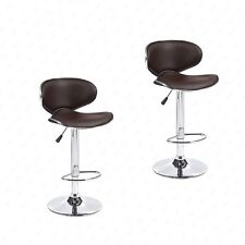 Set of 2 Adjustable Bar Stools Leather Hydraulic Swivel Dining Chair in 3 Colors