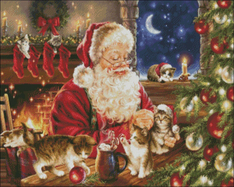 Romantic Christmas Chart DIY Counted Cross Stitch Patterns Needlework