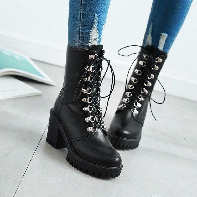 Punk Womens Gothic Lace Up Riding Combat Chunky Heels Ankle Boots Pumps shoes