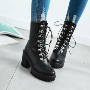 Punk-Womens-Gothic-Lace-Up-Riding-Combat-Chunky-Heels-Ankle-Boots-Pumps-Shoes